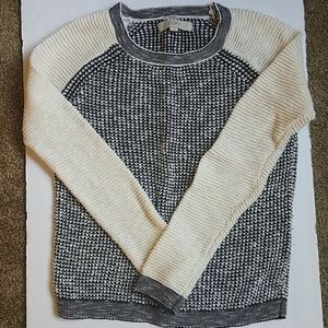 Loft long sleeve cream and black knit sweater (S)